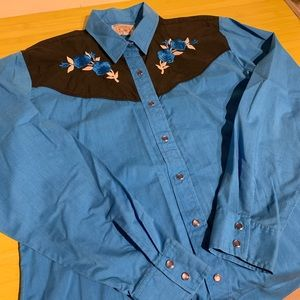 Vintage Blue Western Shirt